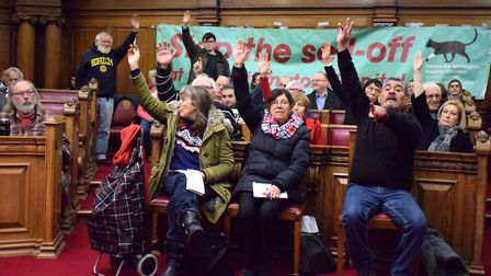 A show of hands at Islington Town Hall supporting a vote that Rydon should not be involved with rede