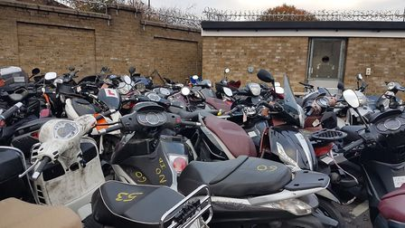 Seized stolen mopeds in Islington. Most of the moped crimes in Hackney are committed by people drivi