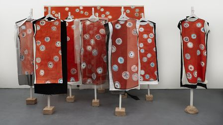Lisa Milroy's Party of One, 2013. Installation painting and painting performed9 dress object-paintin