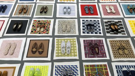 Lisa Milroy's Shoes (detail), 2016. Installation painting 35 pairs of shoes; acrylic on 35 unstretch