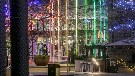 The reflesctions of IFO in the water of Pancras Square, King's Cross. Picture: John Sturrock