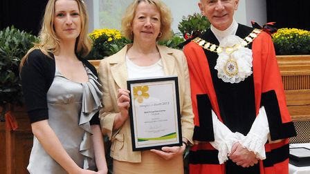 Cynthia Locke, centre, receiving an Islington in Bloom award for the garden back in 2013. Picture: D