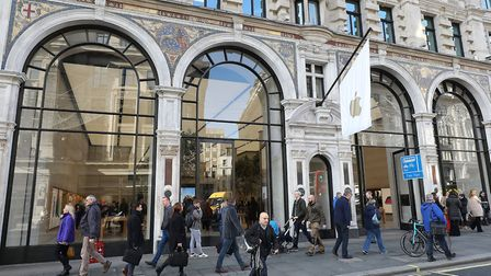The Apple Store in Regent Street, where thieves on mopeds smashed in and stole iPhones, iPads and wa