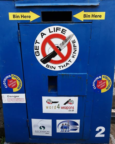 A knife bin like the one St Mellitus hopes to set up. Picture: Loretta Thomas