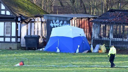 A police tent in Finsbury Park where a young woman's body was found on Wednesday afternoon. Picture: