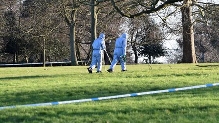 Forensic officers at the crime scene in Finsbury Park. Picture: Polly Hancock