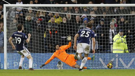 West Bromwich Albion's Jay Rodriguez scores his side's equaliser against Arsenal from the penalty sp