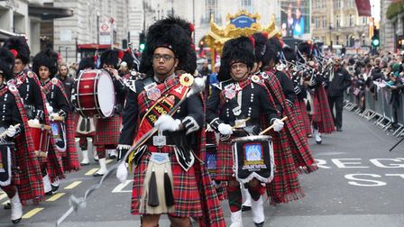Shree Muktajeevan Swamibapa Pipe Band London marched from Green Park to Whitehall as part of the Lon