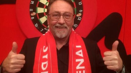 Micky Brock at the darts in Sydney with his Arsenal scarf