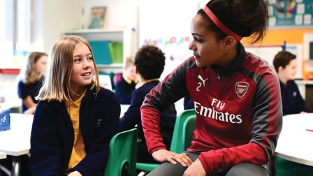 Super Movers ambassador Alex Scott during a classroom session during the Premier League and BBC Supe