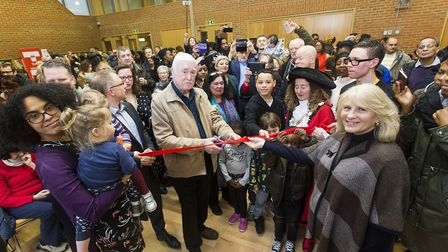 Brian and Jackie Heywood cut the ribbon at the opening of Brickworks community centre and 23 new cou