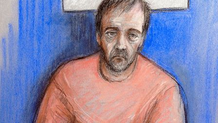 File court artist sketch of Darren Osborne, who is accused of carrying out the Finsbury Park terror