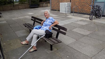 Marie 'the lady on the bench' Heywood outside Ilex House in the Holly Park Estate, Crouch Hill. Pict