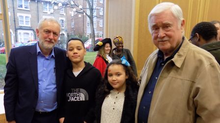 Brian Heywood, right, with two of his grandchildren and Jeremy Corbyn at the opening of Brickworks c