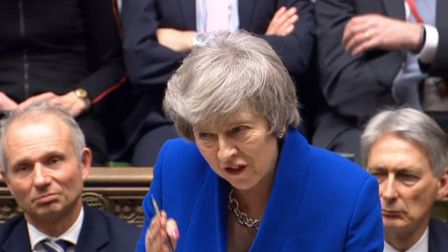 Prime Minister Theresa May speaks during the debate for the government no confidence motion in the H