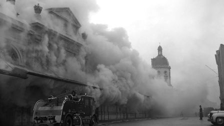 Clouds of smoke drift over the Smithfield meat market in London after an underground fire at the Uni