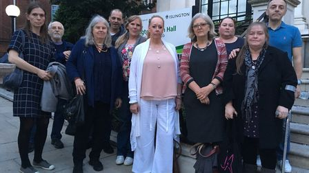 Members and supporters of Islington Survivors' Network outside Islington Town Hal.. Picture: RAMZY A