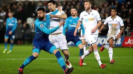 Olivier Giroud on his final appearance for Arsenal at Swansea (pic Nick Potts/PA)