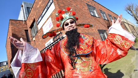 Chinese New Year celebrations at Islington Chinese Association. Stephen Hsu, dressed as a traditiona