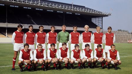 Arsenal first team squad 1969-70: (back row, l-r) Peter Simpson, Frank McLintock, George Graham, Ter