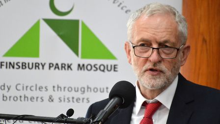 Jeremy Corbyn speaks at the Finsbury Park Mosque and Muslim Welfare House service of hope two weeks