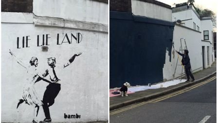 The Lie Lie Land artwork had become a local landmark but has now been painted over.