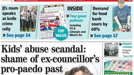 The Gazette front page in May exposing explosive evidence about Sandy Marks' past