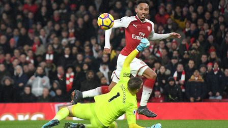 Arsenals's Pierre-Emerick Aubameyang scores his side's fourth goal of the game during the Premier Le
