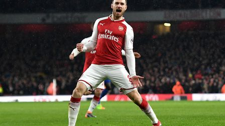 Arsenal's Aaron Ramsey celebrates scoring his side's first goal of the game during the Premier Leagu