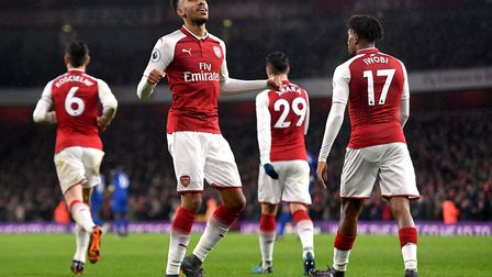 Arsenal's Pierre-Emerick Aubameyang (centre) celebrates scoring his side's fourth goal of the game d