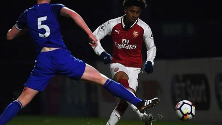 Reiss Nelson scores against Everton U23s at Meadow Park on Monday evening. Credit Arsenal FC