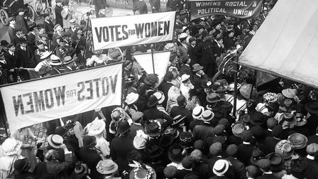 A protest meeting by the WSPU outside the Queen's Hall in central London.