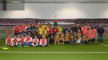 Players line-up before the Arsenal For Everyone tournament at the Emirates on Saturday. Credit Arsen