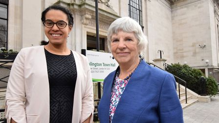 Cllrs Kaya Comer-Schwartz and Janet Burgess outside Islington town hall this week. Picture: Polly Ha