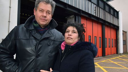 Colin Jones and his wife Elizabeth Madrid outside Holloway Fire Station, Hornsey Road. Picture: Poll