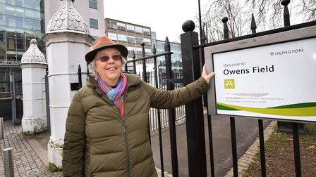 Islington tour guide Jen Pedler at the entrance to Owens Field, next to the former gateposts of the