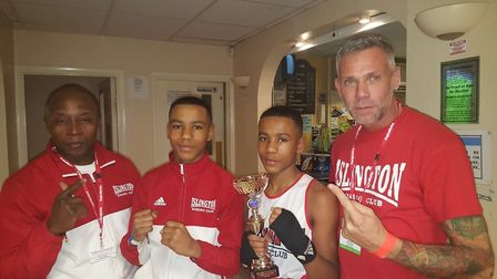 Islington BC youngsters and twin brothers Caiden and Kyron Hughes both won on a Guildford City ABC s