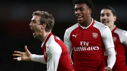 Arsenal's Nacho Monreal celebrates his side's first goal after Chelsea's Antonio Rudiger (not pictur