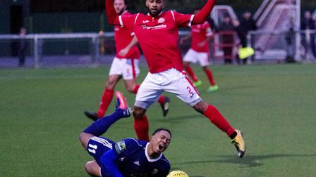 Ashley Nathaniel-George is brought down for a Hendon penalty at Harlow (pic DBeechPhotography)