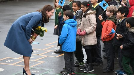 The Duchess of Cambridge arriving at Roe Green Junior School in Brent, London to launch a mental he