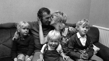 BOB WILSON 1971: Arsenal goalkeeper Bob Wilson gets a kiss from his wife, Megs, after being named in