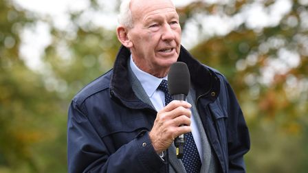 Bob Wilson welcoming competitors to the Willow 10K Run at Hatfield House [Picture: Christopher Dean