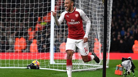 Arsenals's Pierre-Emerick Aubameyang celebrates scoring his side's fourth goal of the game during th
