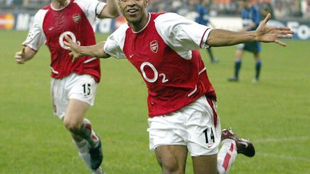Arsenal's Thierry Henry celebrates his 2nd goal against Inter Milan with Ray Parlour as Arsenal beat