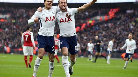 Tottenham Hotspur's Harry Kane celebrates scoring his side's first goal of the game with Dele Alli (