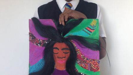 New North Academy student Gabriel Olayemi's artwork is on display at Islington Town Hall. Photo by N