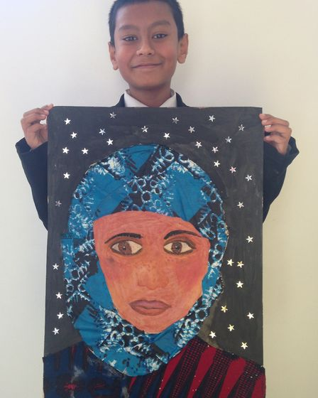 New North Academy student Mohammed Ali's artwork is on display at Islington Town Hall. Photo by New