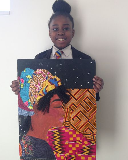 New North Academy student Stephanie Dipenge's artwork is on display at Islington Town Hall. Photo by