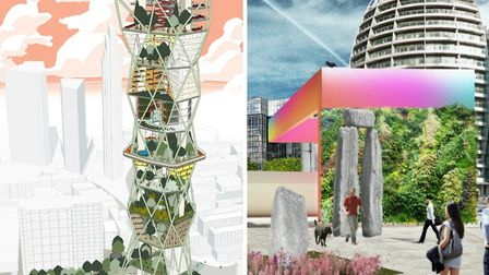 The 'Tech Tower' and 'Stone Circles' designs in the Old Street competition. Pictures: Mae/The D*Haus