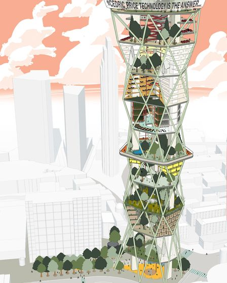 Mae's 'Tech Tower' proposal for the Old Street competition. Picture: Mae